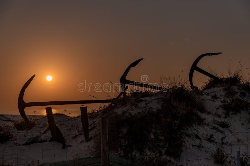 Anchors on Barril Beach Algarve Portugal royalty free stock photos