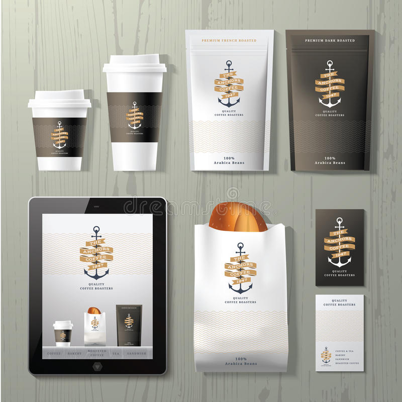The anchors coffee shop corporate identity template design set. On wood background stock illustration