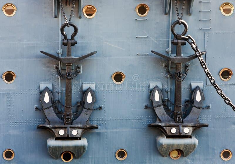 Anchors Of Cruiser Aurora Stock Photography