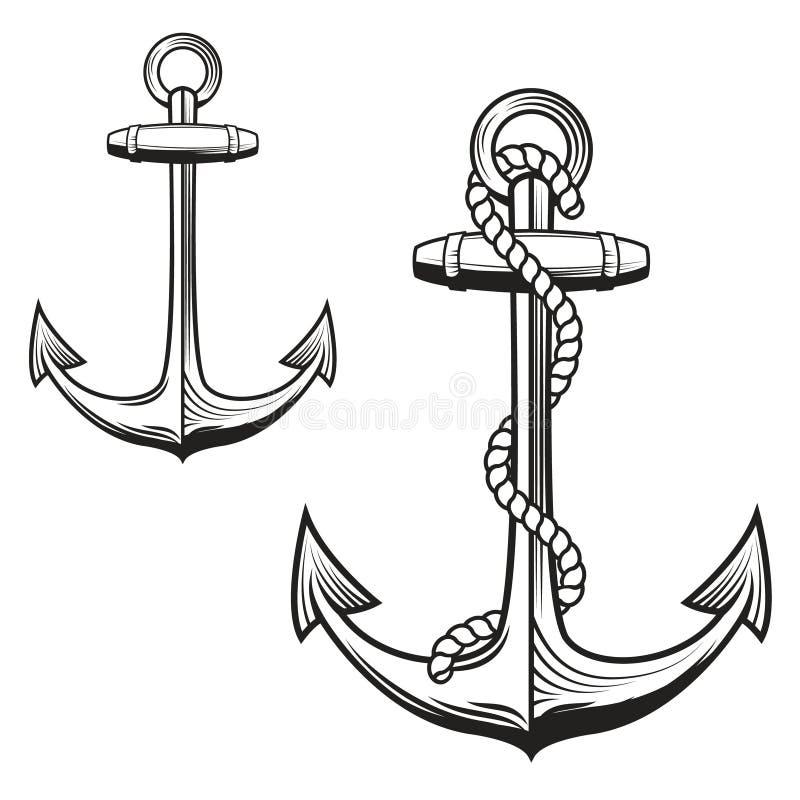 Anchors monochrome icons stock illustration