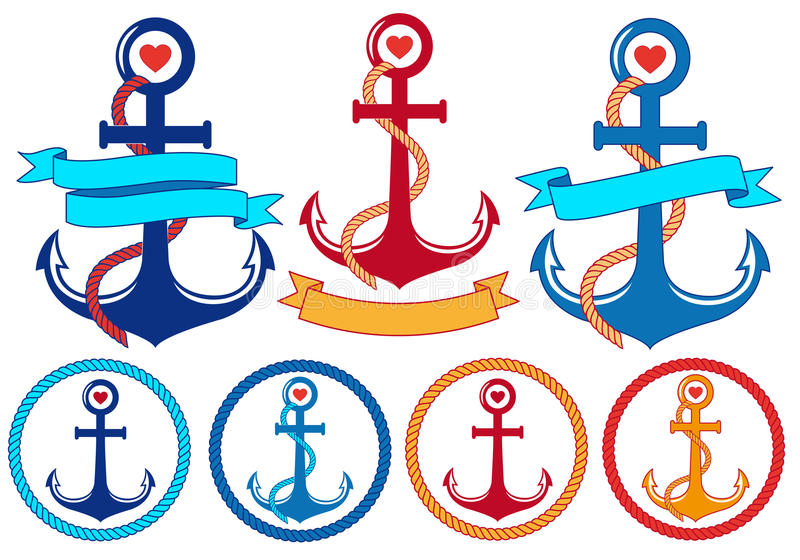 Anchors with ribbons and frames, vector set royalty free illustration