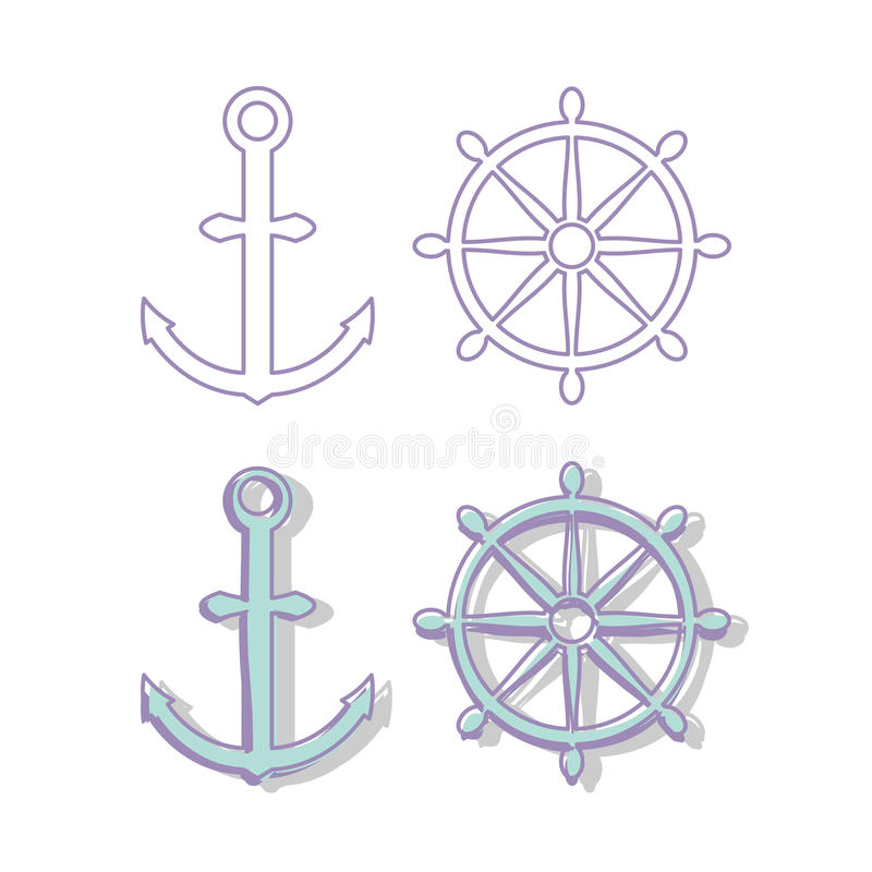 Anchors and steering wheel vector illustration