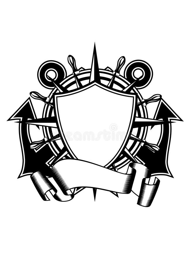 Anchors and steering whell stock illustration