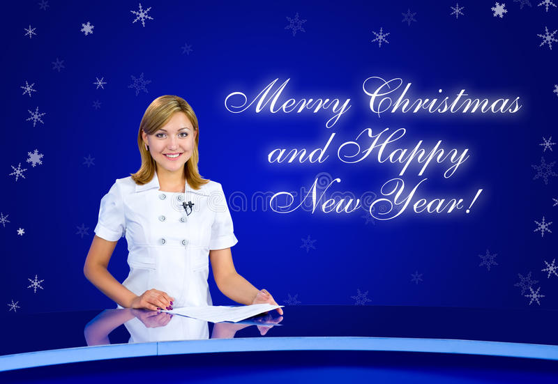 Anchorwoman greeting card stock photography