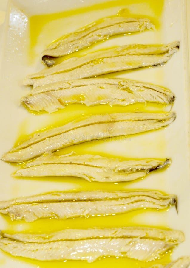 Anchovies in vinegar stock photos