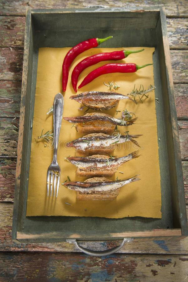 Anchovy based snack royalty free stock images