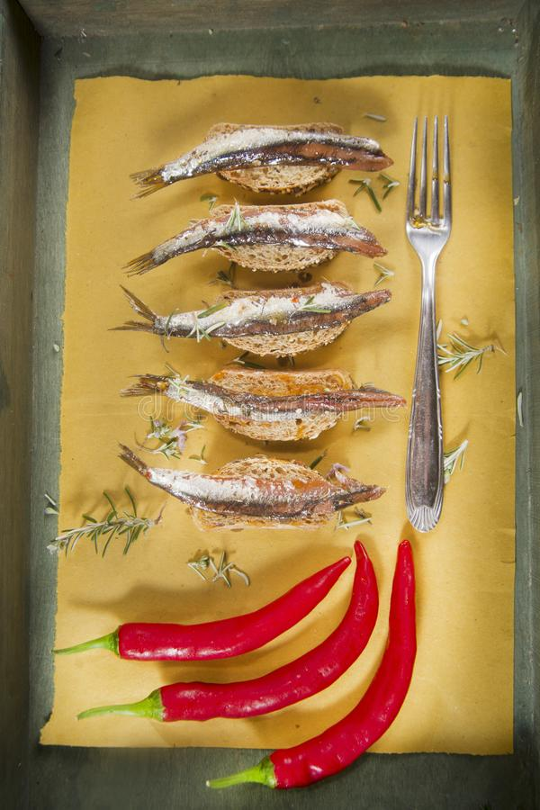 Anchovy based snack stock image