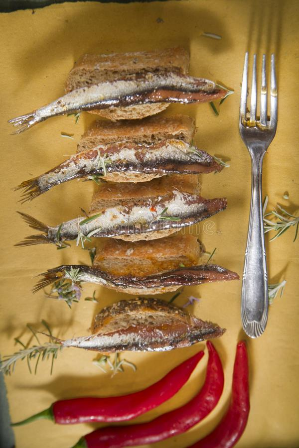 Anchovy based snack royalty free stock image