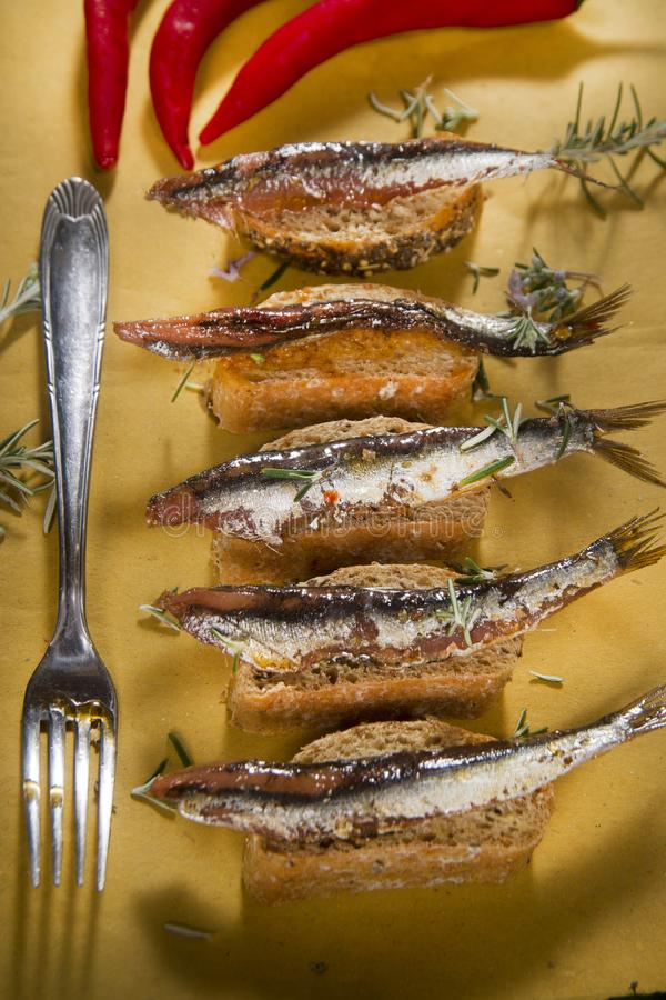 Anchovy based snack stock images