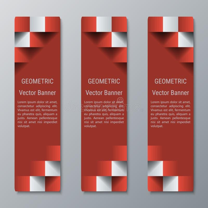 Anchura media de las banderas rectangulares verticales geométricas con el efecto 3D para un sitio web del negocio imagen de archivo