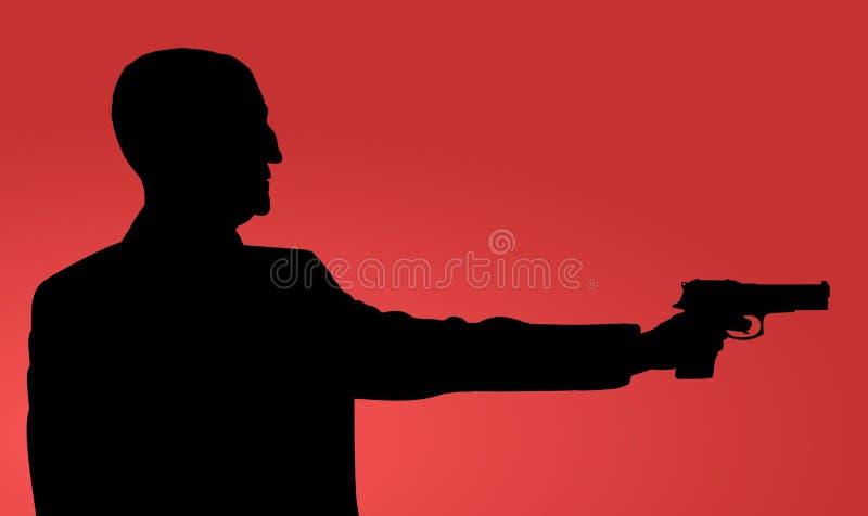 Ancião com arma ilustração royalty free