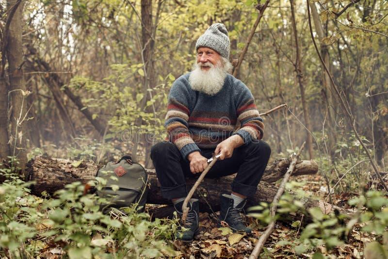 Ancião com a barba na floresta imagem de stock