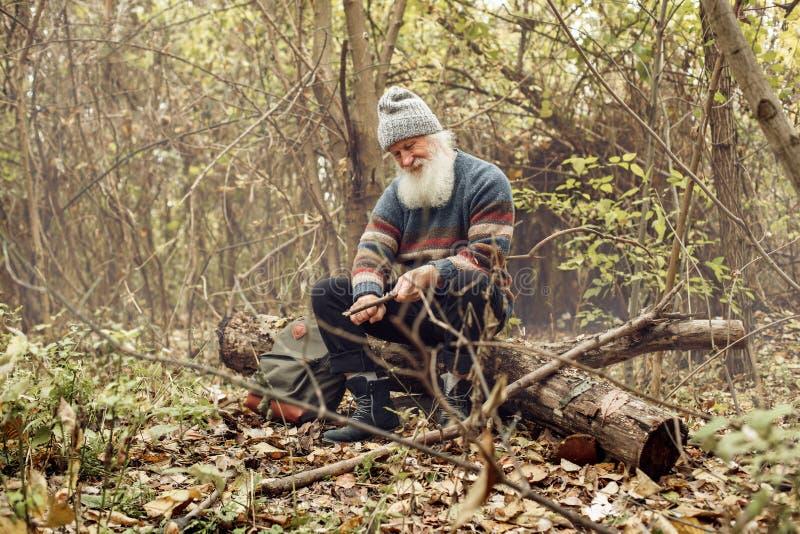 Ancião com a barba na floresta imagem de stock royalty free
