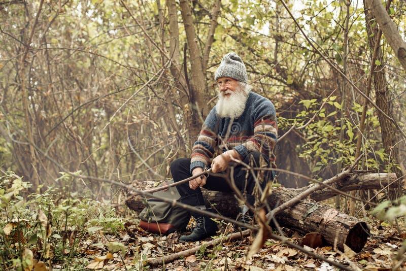 Ancião com a barba na floresta foto de stock