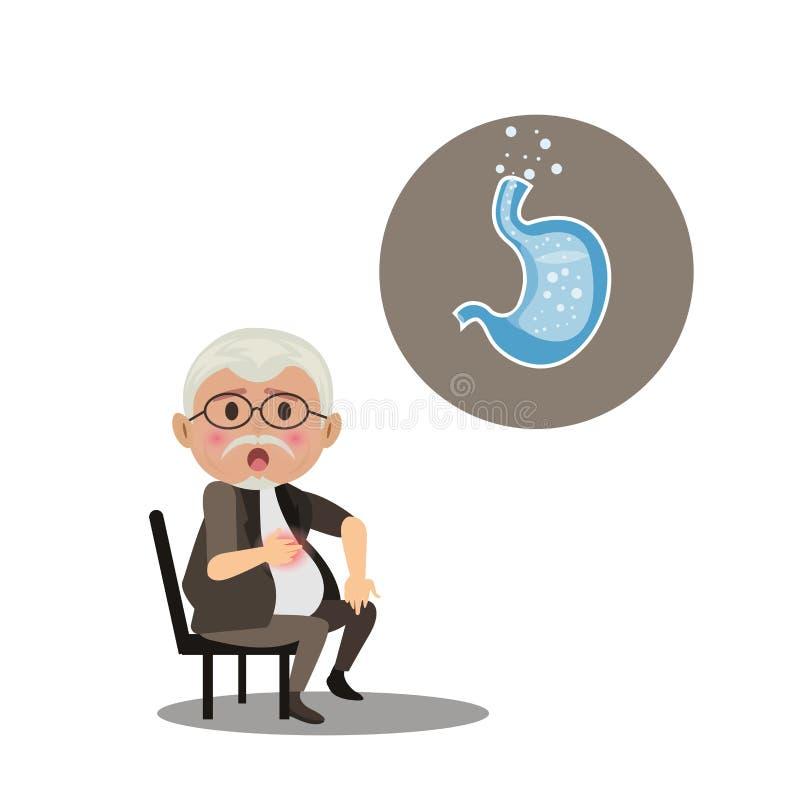 Ancião com maré baixa ácida sintomático Isolado no fundo branco ilustração stock