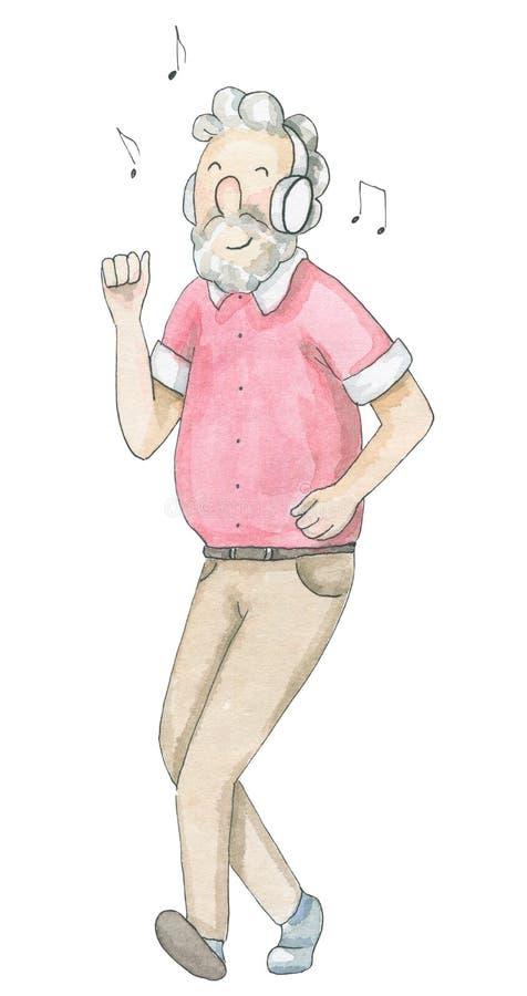 Ancião da aquarela que aprecia a música e as danças ilustração do vetor