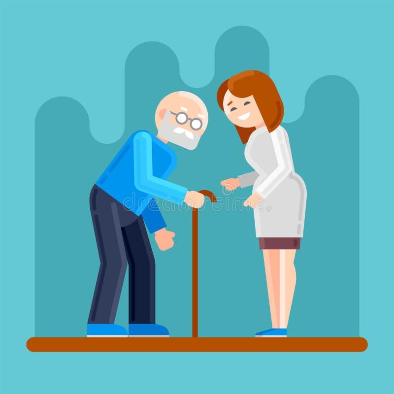 Ancião deficiente das ajudas da enfermeira ilustração do vetor