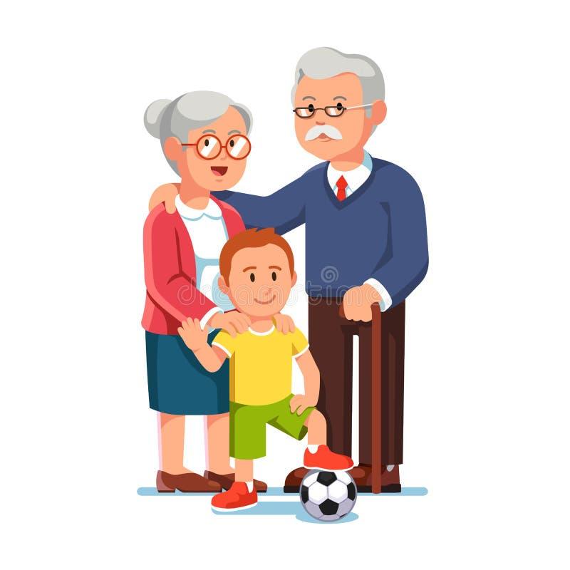 Ancião e mulher envelhecida que estão com rapaz pequeno ilustração do vetor