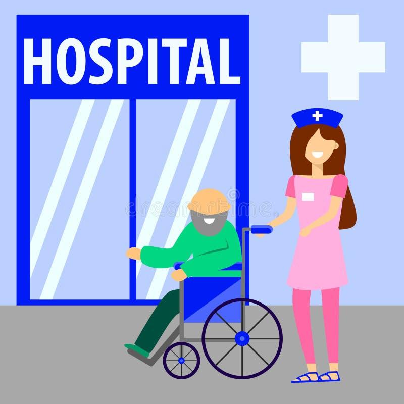 Ancião em uma cadeira de rodas e em uma enfermeira Ilustra??o lisa do vetor Um trabalhador do setor da saúde ajuda aposentados a  ilustração royalty free