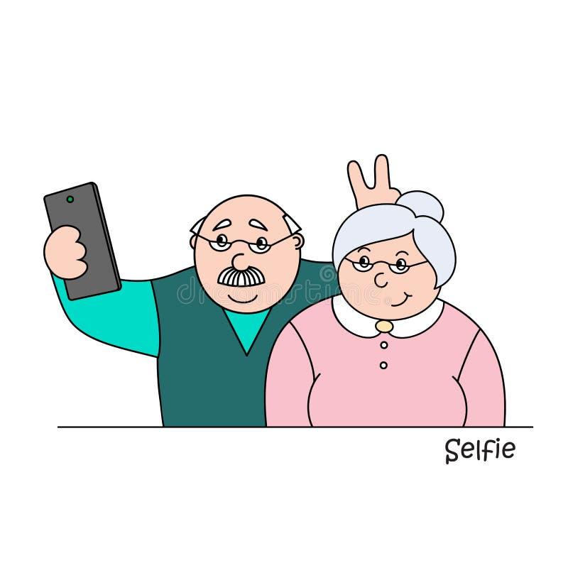 Ancião feliz do illustrationold do vetor e senhora idosa que fazem selfies no telefone, retrato da foto de família das avós ilustração royalty free