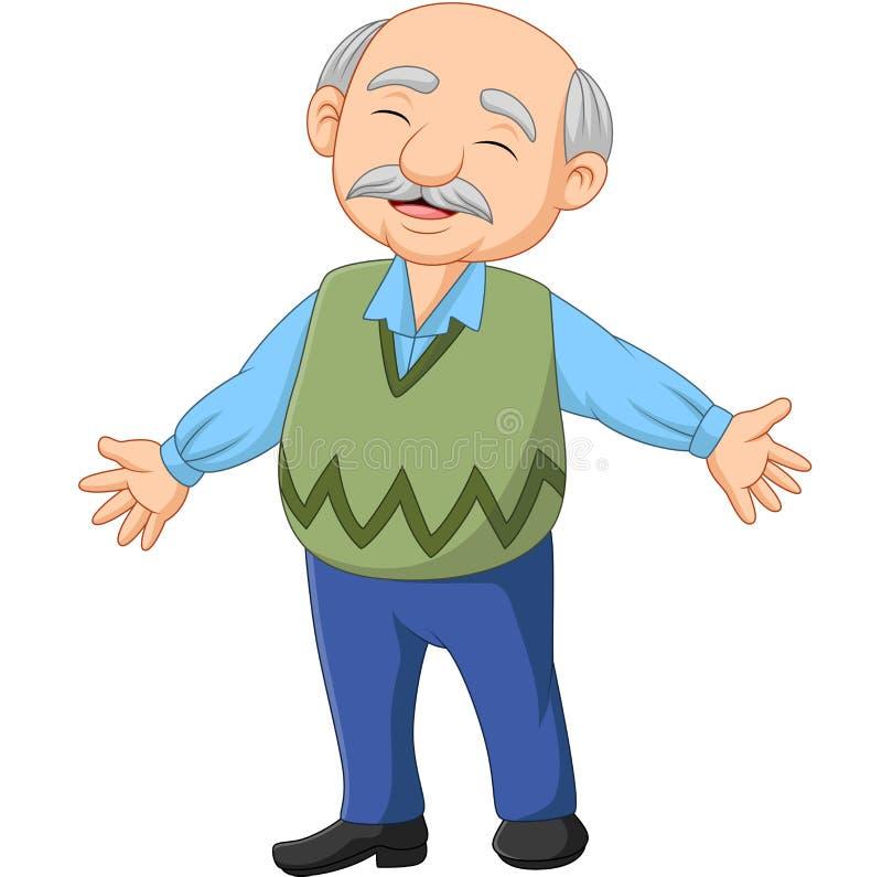Ancião idoso superior feliz dos desenhos animados ilustração royalty free