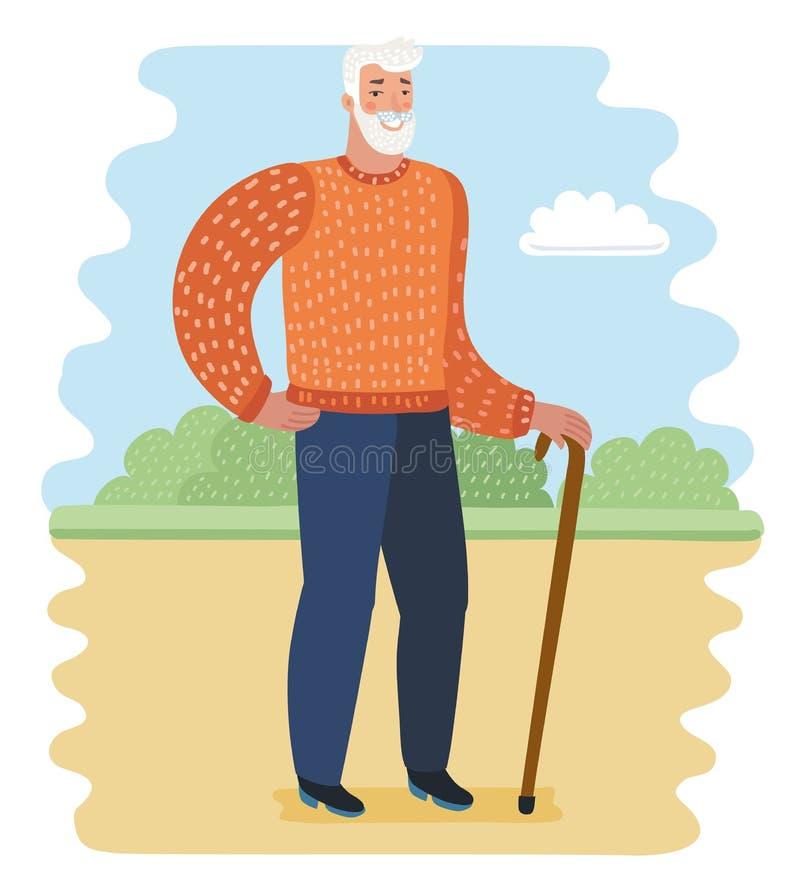 Ancião no parque ilustração stock
