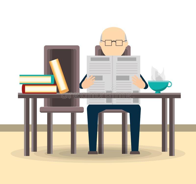 Ancião que lê o jornal ilustração royalty free