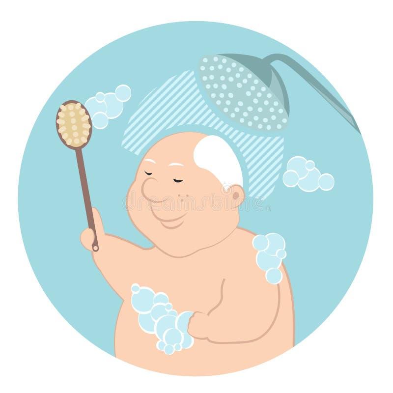 Ancião que toma um chuveiro com sabões da bucha ilustração do vetor