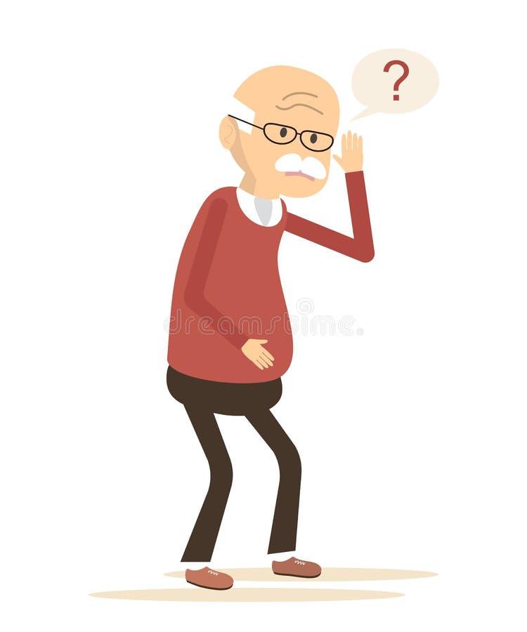 Ancião surdo que tenta ouvir-se ilustração stock