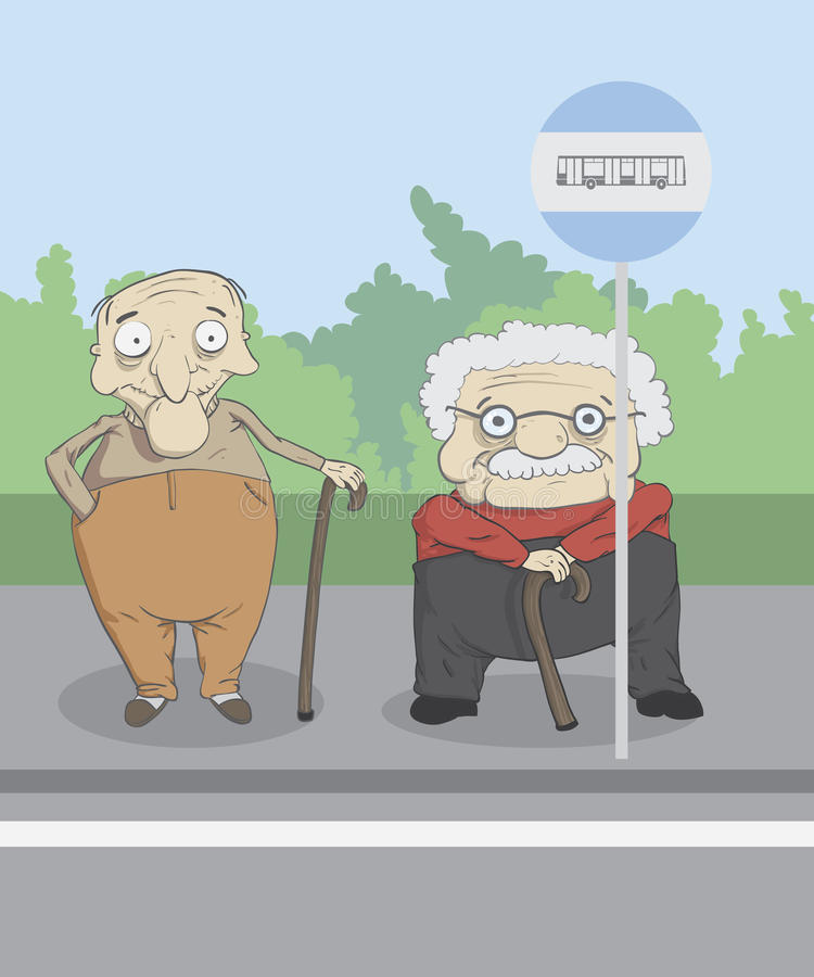 Anciões em uma parada do ônibus imagens de stock