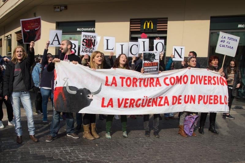Anci Bullfighting protestujący zdjęcia stock