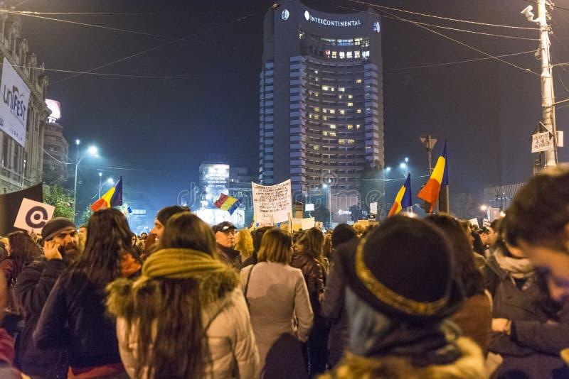 Anci rządowi protestujący w Bucharest fotografia stock