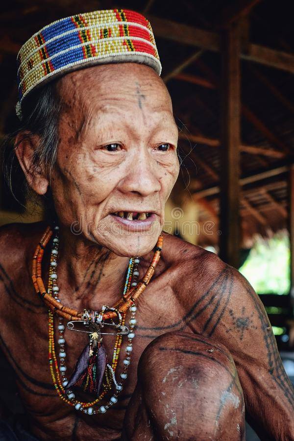 Anciano tribal Toikot en su hogar de la selva tropical que cuenta un cuento sobre el junio foto de archivo libre de regalías
