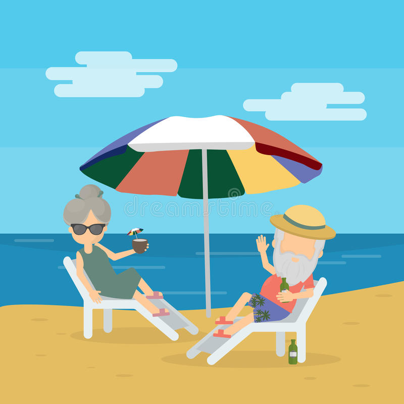 Ancianos el vacaciones ilustración del vector