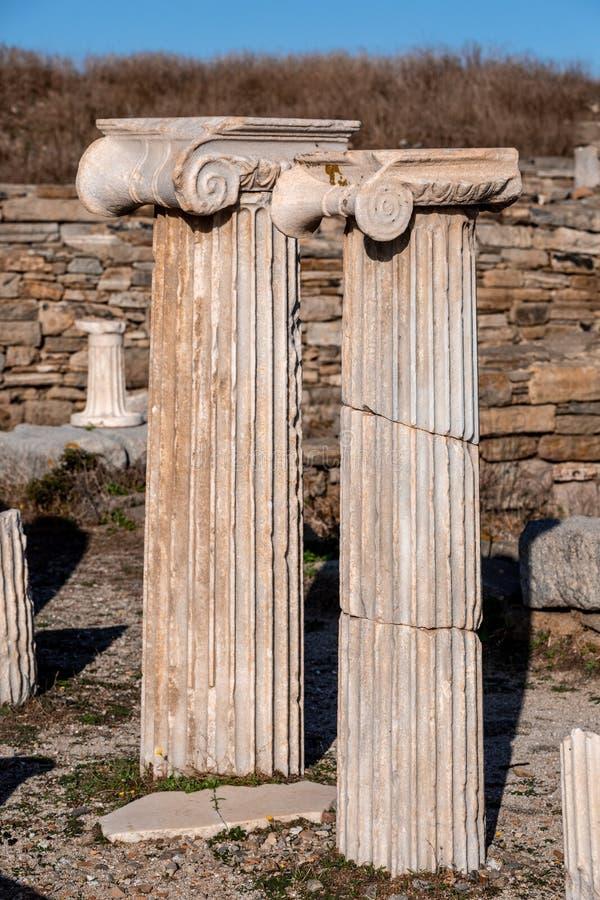 Ancicient white stony pillars royalty free stock photos