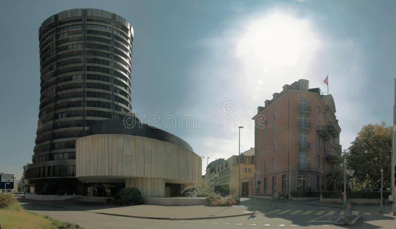 Ancien bâtiment BIZ par gare principale, Bâle image stock