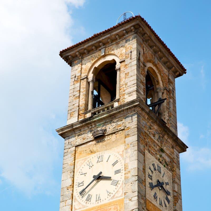 ancien klokketoren in de de oude steen en klok van Italië Europa royalty-vrije stock foto