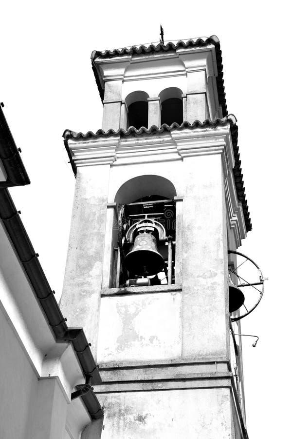 ancien klokketoren in de de oude steen en klok van Italië Europa stock fotografie