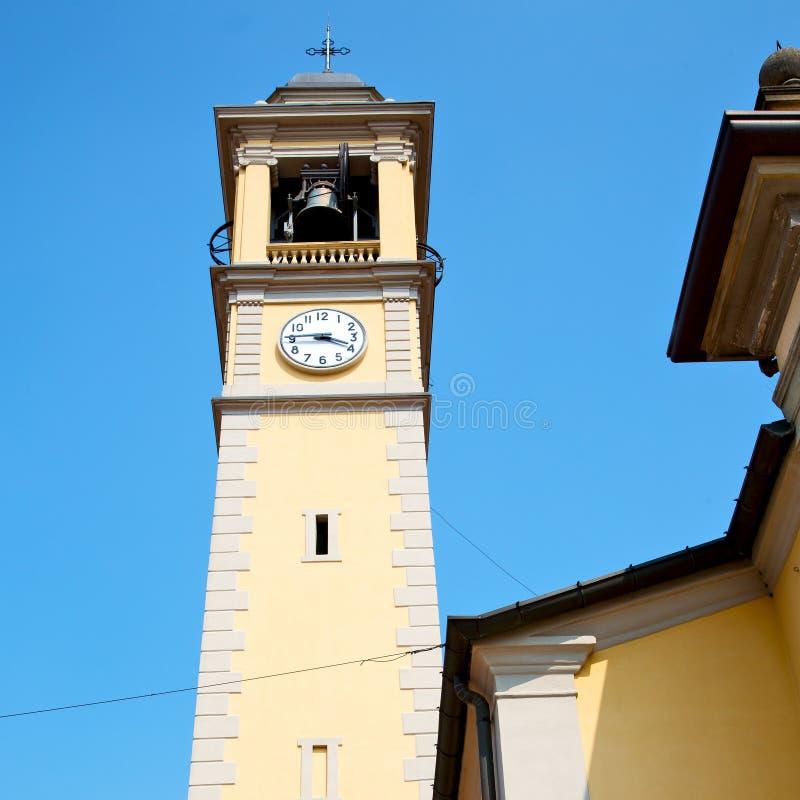 ancien klokketoren in de de oude steen en klok van Italië Europa stock foto's