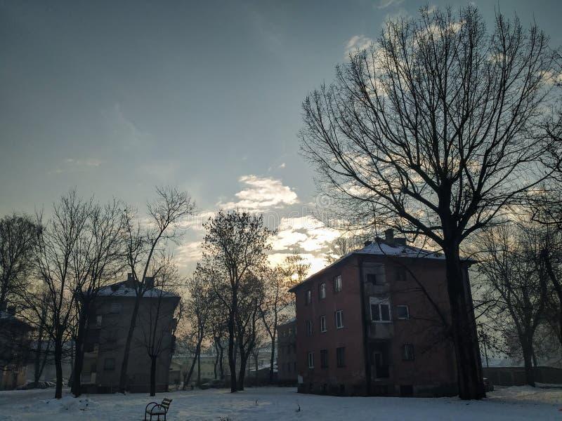Ancien matin nostalgique en hiver et saison des Fêtes dans la banlieue et la nature recouverte de neige photographie stock