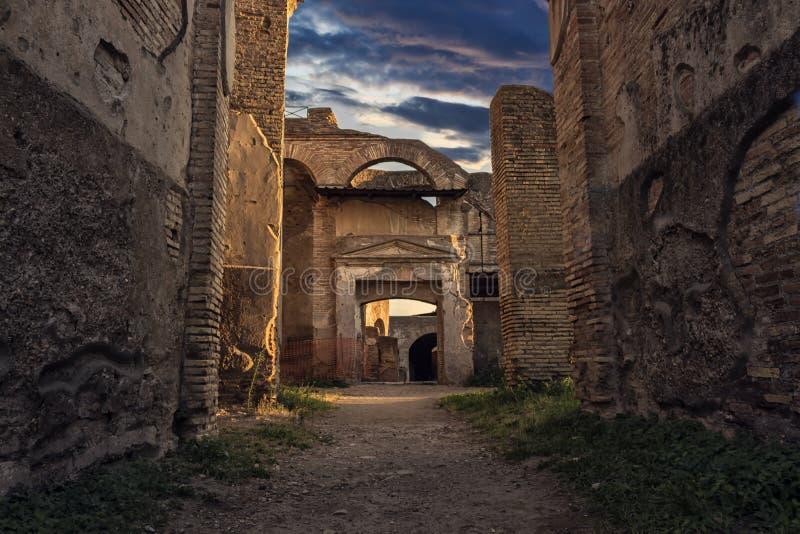 Ancien Ostia, roman Empire city, ruins landscape stock image