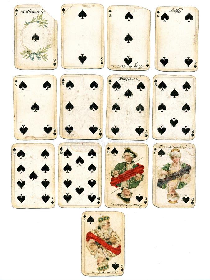 Ancien playing cards spades royalty free stock photo