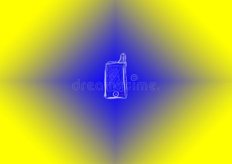Ancien téléphone portable dessiné à la craie sur fond jaune bleu illustration stock