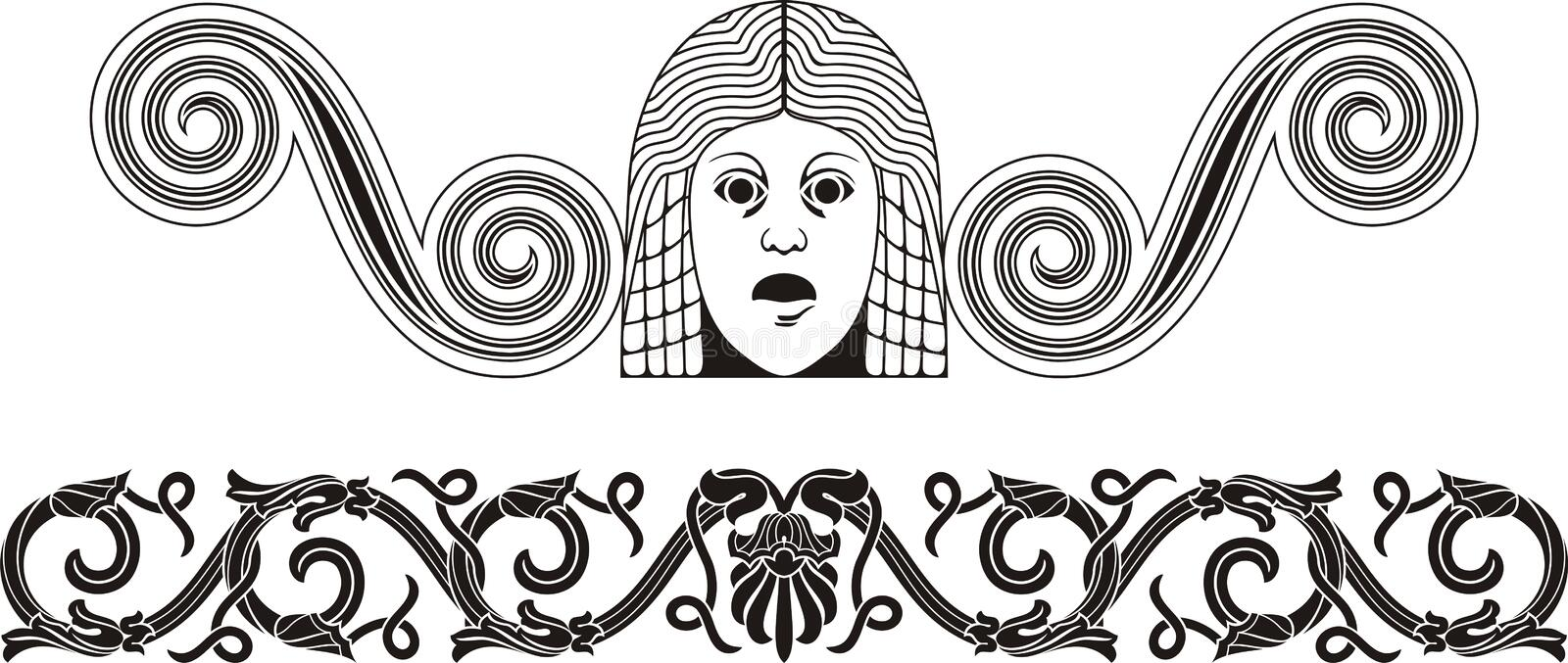 Download Ancient stock vector. Image of ornate, mask, design, silhouette - 23437282