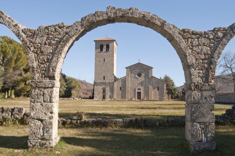 Ancient abbey of Castel San Vincenzo al Volturno stock images