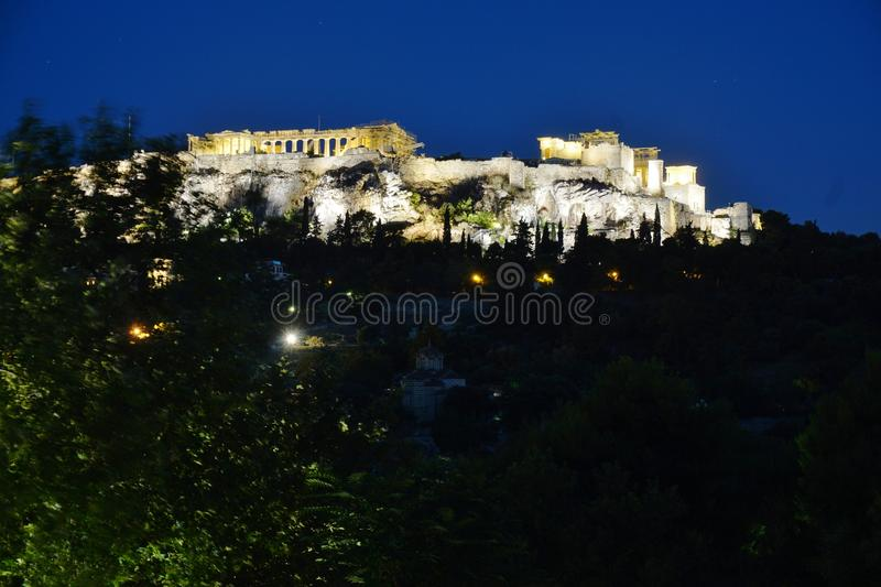 The ancient Acropolis of Athens at night royalty free stock image