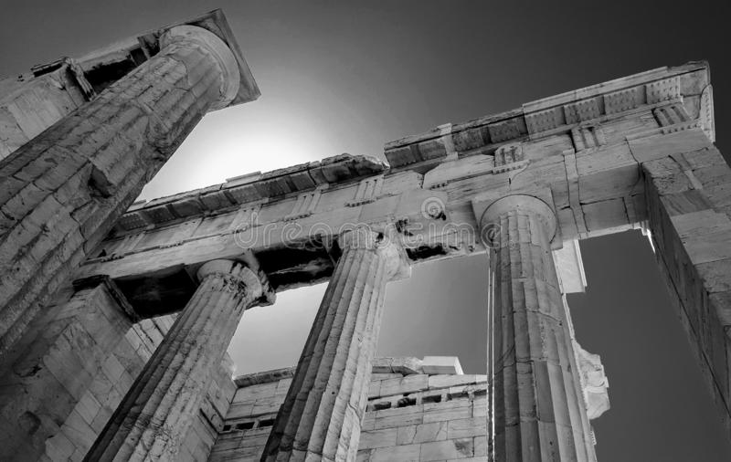 Ancient Acropolis Marble black and white. Ancient Acropolis Parthenon Marble black and white with creamy marble textures. Contrast between white, dark, light royalty free stock photography