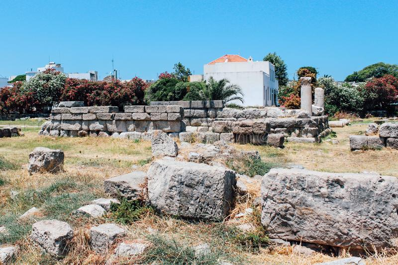 Ancient Agora ancient ruins in Kos island, Greece stock images