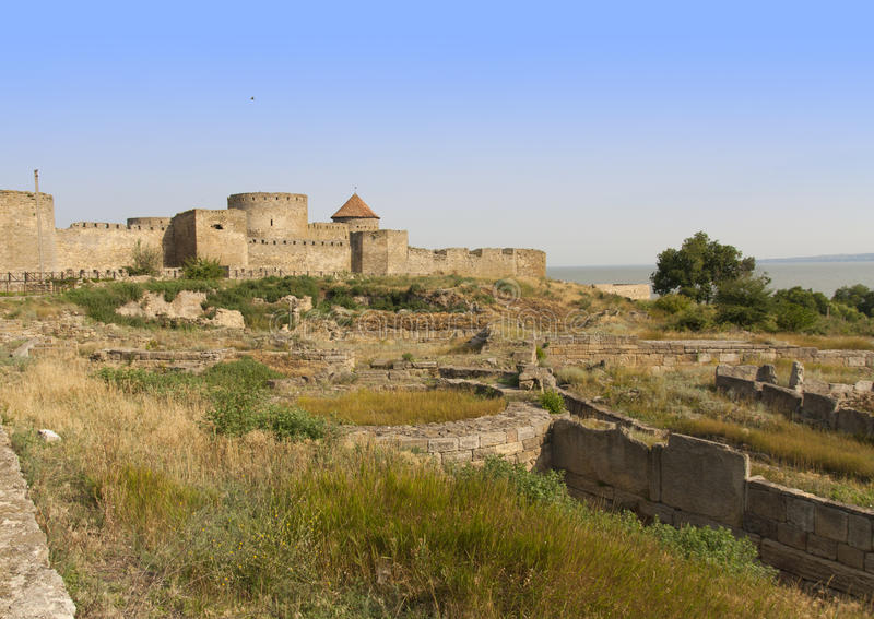 Ancient Akkerman fortress at Belgorod-Dnestrovsky, near Odessa, Ukraine. Citadel old fortress. The Ukraine photo. Ancient Akkerman fortress at Belgorod stock photo