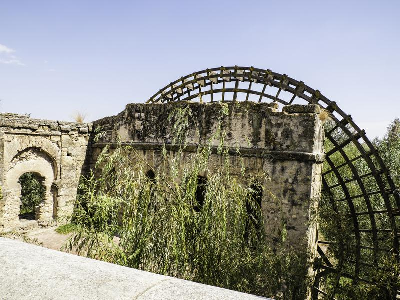 Ancient Albolafia watermill on Guadalquivir river. An ancient water mill at Cordoba on the Guadalquivir river known as the Albolafia Watermill. called Molino de royalty free stock image